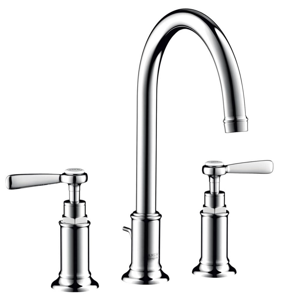 AXOR Montreux 3-hole basin mixer 180 with lever handles and pop-up waste set