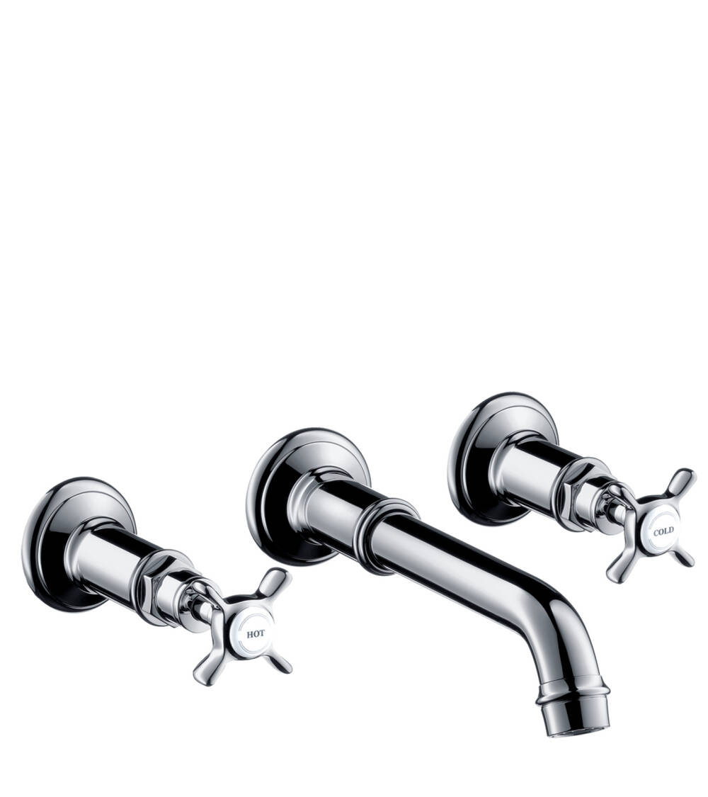 AXOR Montreux 3-hole basin mixer for concealed installation wall-mounted with spout 165 – 225 mm and cross handles