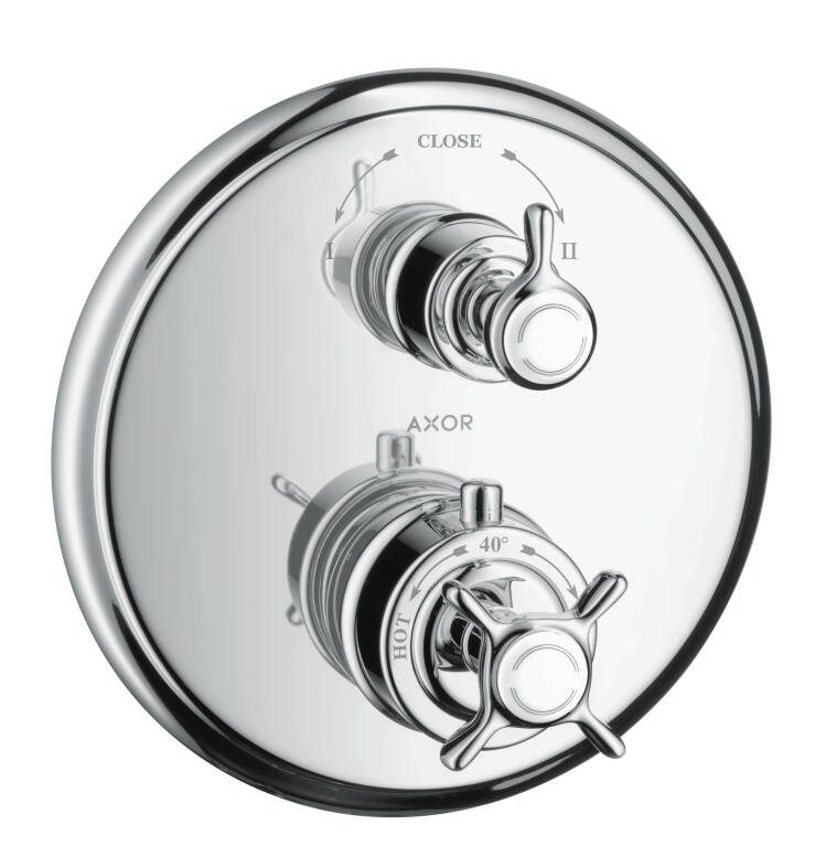 AXOR Montreux Thermostat for concealed installation with cross handle and shut-off/ diverter valve