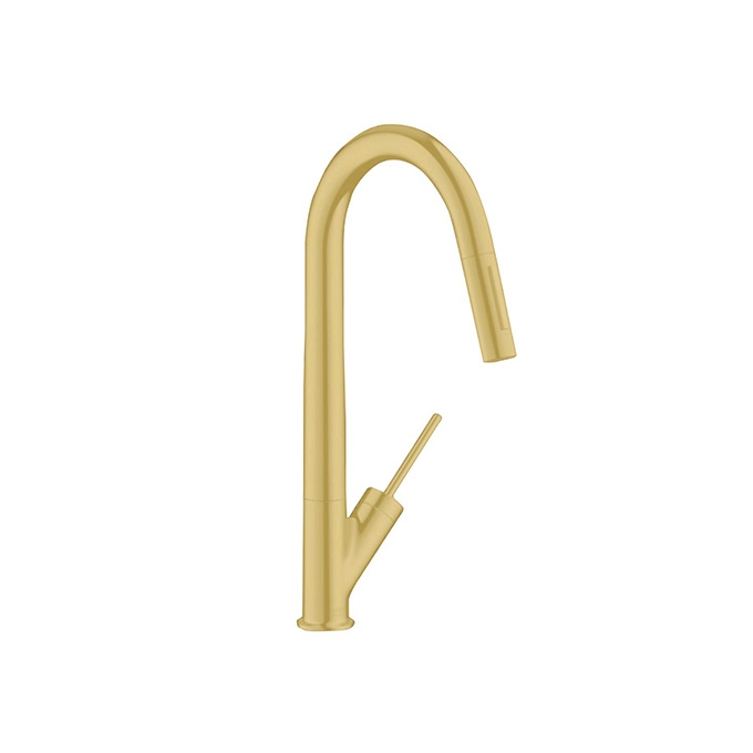 Axor Starck Single Lever Kitchen Mixer With Pull-Out Spray – Brushed Brass